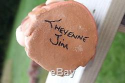 Cheyenne JIM NAVAJO Storyteller SIGNED, Native American Clay Pottery