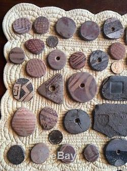 Collection of a Hohokam small pallet, knife & pottery disks
