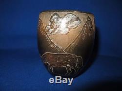Corn Moquino Santa Clara Native American Black Pottery Bowl Howling Coyote