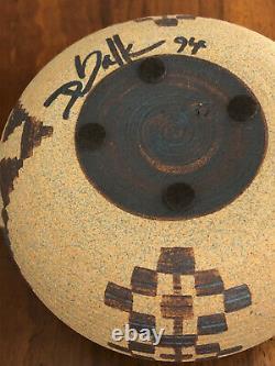 David Salk 1994 Studio Art Pottery Native American Inspired Clay Basket Pot Bowl