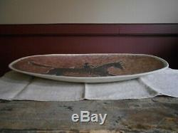 David Salk Pottery Lg. Platter with Native American Indian on Horse With Stand