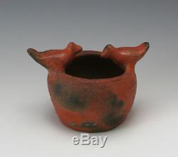 Early 1900's Catawba Indian Double Bird Effigy Bowl Harris Native American SC