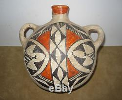 Early Vintage Acoma Pottery Canteen, Historic Native American Polychrome Pottery