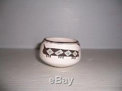 Emma Lewis Acoma Native American Pueblo Indian Caterpillar Pottery Jar Bowl Pot