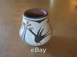 Eusebia Shije Zia Bird Native American Pollychrome Pot 3.5 x 3.25 ca. 1960