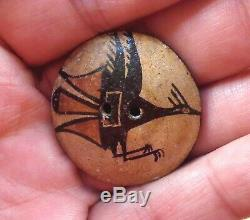 FLYING ZIA BIRD Zia Pueblo Native American Clay Pottery BUTTON, 1940s, LARGE