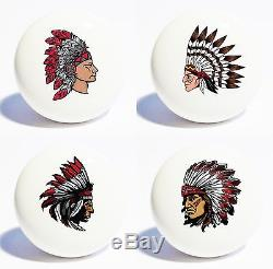 FOUR NATIVE AMERICAN HOME DECOR CERAMIC KITCHEN KNOBS DRAWER CABINET PULLS