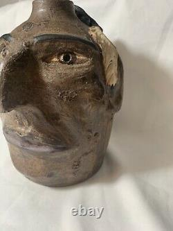 Face Jug Pottery Native American Signed Tom Touchstone Jug 2002