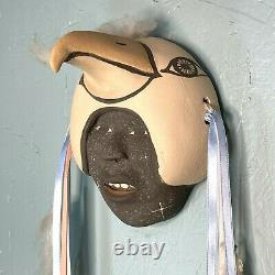 Fannie Loretto Eagle Warrior Mask Clay Pottery Polychrome Native American Jemez