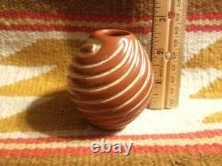 Fine Santa Clara Pueblo Carved Red Coil Spiral Pottery Mini Urn Denise Chavarria