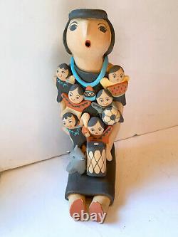G B Fragua Pottery 9'' Storyteller Jemez Pueblo Native American Vtg