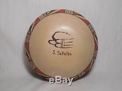Gforgeous Hopi Indian Pottery Bowl By Award Winning Artist Stetson Setalla