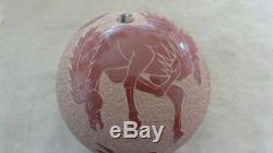 Gloria Garcia Goldenrod Santa Clara Pueblo Pottery Seed Pot With Horse & Rabbit