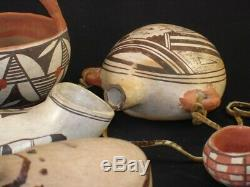 Group of 9 Pueblo Pottery, Southwest Native American Indian Artifacts, 1900's