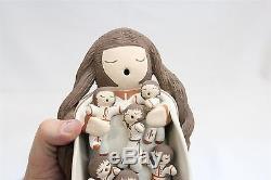 HUGE Isleta Pueblo Pottery 10 Kids Long Hair Storyteller CHris Teller WOW