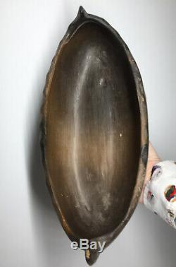 HUGE Native American Catawba Pottery Canoe FINE Terracotta Boat Vessel Earl