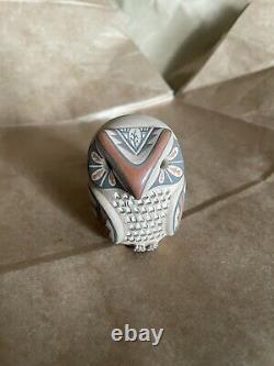 Hand-coiled Jemez Pueblo Laura Gachupin Pottery Owl Figurine Native American