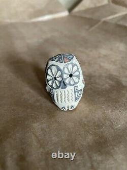 Hand-coiled Jemez Pueblo Norma Toya Pottery Owl Figurine Native American Vintage