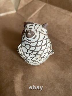 Hand-coiled Zuni Style of Nellie Bica Pottery Owl Figurine Native American