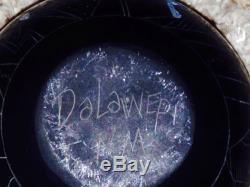 Handmade Acoma Native American Dalawepi Ergil Vallo Etched Black Rainbow Pot