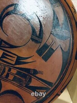 Hopi Antique Native American Indian Large Polychrome Pot Pottery Bowl