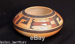 Hopi Indian Fret Motif Pottery by Madeline Sahneyah