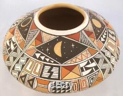 Hopi Indian Pueblo Pottery Seed Bowl, LRG Thinwall Hand Made Pot, Rainy NAHA