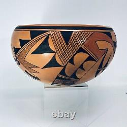 Hopi Pottery Large Bowl by Bertha Tungovia Mid 1900s Native American Southwest