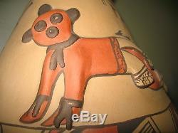 Huge Jemez Native American Pottery Vase / Rare Mud Head Design /16x11