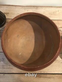 Huge San Juan Pueblo Native American Indian Pottery Olla Dough Bowl