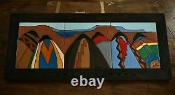 Huge Vintage Southwestern Native American Signed Ceramic Tile Inlay Wall Mount