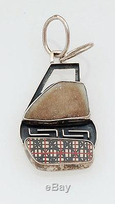 Indian Handmade Mata Ortiz Pottery Shard and Sterling Silver Pendant with Quartz