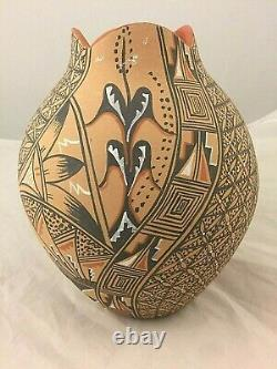 JEMEZ HAND COILED POLYCHROME Pottery VASE with FINE LINE DESIGN AND CORN STALK