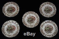 JOHNSON BROS WILD TURKEYS NATIVE AMERICAN SET OF 5 SALAD LUNCHEON PLATES
