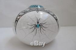 J. F. Gachupin Native American Hand Painted with Turquoise Spiders Pottery Seed Pot