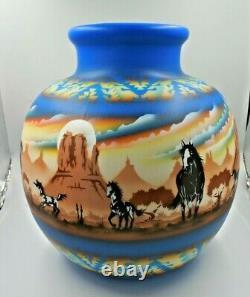 James Benally Navajo Native American Indian Pottery Huge Vase Signed Horse 16 T