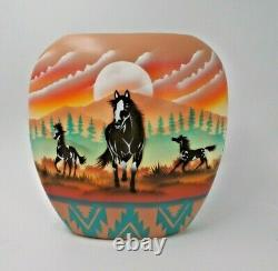 James Benally Navajo Native American Indian Pottery Pillow Vase Signed Horse 8