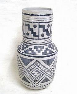 Jemez Indian 12.5 Tall Revival Pottery Vase Urn by Native American J Madalena