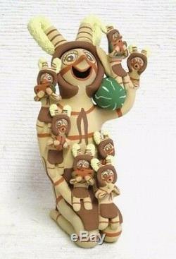 Jemez Indian Clown w 7 Little Ones LRG 9+ Native American Storyteller Pottery