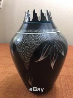Jemez Pueblo Indian Pottery Vase Turquoise Beading Signed by J. F. Gachupin