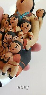 Jemez Storyteller Signed by Mary Lucero 9 Children Native American Pottery Clay