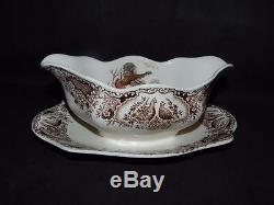 Johnson Brothers Bros Wild Turkeys Native American Windsor Ware Gravy Boat AS IS