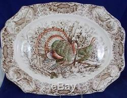Johnson Brothers WILD TURKEYS 20 Oval Platter Native American with light use