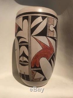 Joy Navasie Frog Woman Hopi Indian Native American Pottery Cylinder Vase 7.5