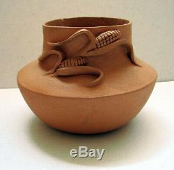 Juanita Suazo Dubray Native American Art Pottery Taos Pueblo Cornflower Vase