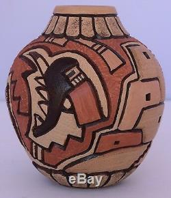 Kachina Native American, Hopi pueblo, vessel, pot pottery by Carla Claw Nampeyo