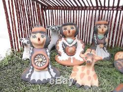 LARGE! 11 Piece Nativity Jemez Pottery Native Indian Pueblo Storyteller C Sando