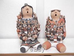 LARGE! Storyteller Set Jemez Pottery Native American Indian Pueblo by Cass Toya