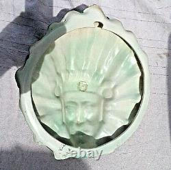 LARGE VINTAGE BURLEIGH WARE NATIVE AMERICAN INDIAN MASK WALL PLAQUE c1930's PERF