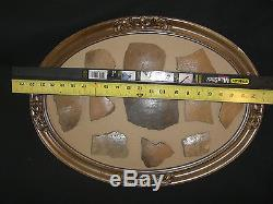 LOT#4 Oval Framed Illinois Indian Relic Artifact Pottery Shards 11 Pieces (L0)